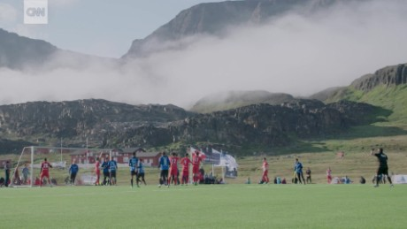 Greenland: Football with whales and icebergs