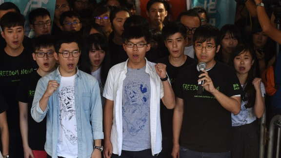 Nathan Law (L), Joshua Wong (C) and Alex Chow, leaders of Hong Kong