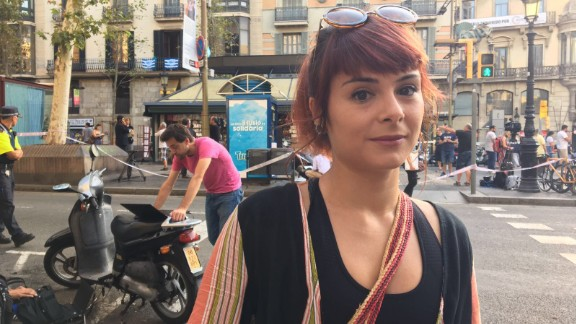 """Miren Stillitani, 30, lives just around the corner from Plaça Boqueria, where the van stopped its deadly rampage. She was at work when she heard the news of the attack.""""I was in a meeting and everyone started looking at their phones. I didn"""