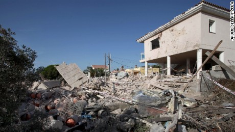 The debris of a house after it collapsed due to a gas leak explosion in the village of Alcanar, Catalonia, northeastern Spain on August 17, 2017. Some media are reporting that Catalonian Police suspect that this may be linked to the terrorist attack committed at the Ramblas in Barcelona in which 13 people have died and 100 were injured when a van crashed into pedestrians.