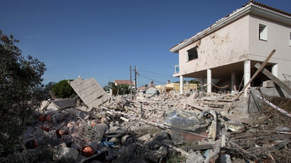 The debris of a house in the village of Alcanar, Catalonia, is seen Thursday after it collapsed due to an explosion.