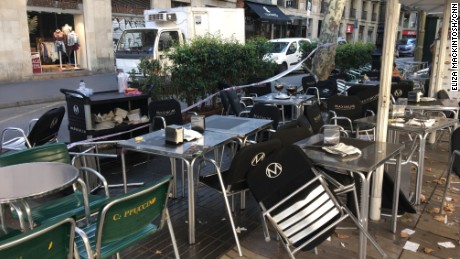 Tables and chairs at pavement cafes on Las Ramblas offer hints to the chaos that erupted here, prompting visitors enjoying an early evening drink to scatter in panic.