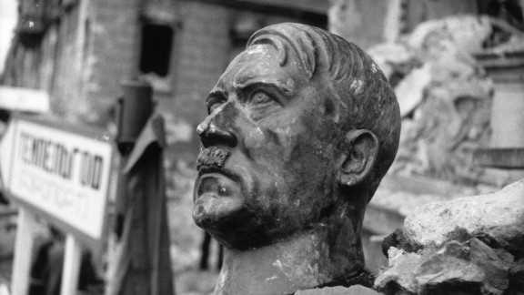 6th July 1945:  A bust of Adolf Hitler lies amidst the ruins of the Chancellery, Berlin.