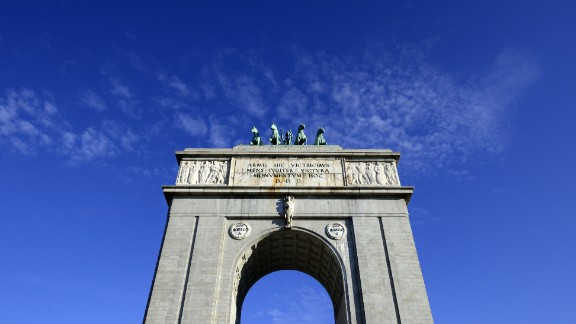 A photo taken on February 18, 2015 shows the Arco de la Victoria (Victory arch) in Madrid.