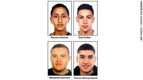 Police released images of four suspects. Three are dead, but Younes Abouyaaqoub remains on the run.