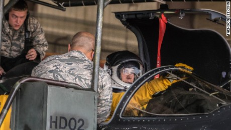 "A U2 ""Dragon Lady"" pilot at Osan Air Base prepares to embark on a 12-hour mission over the Korean peninsula."