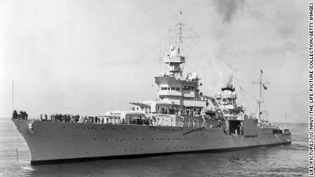 The heavy cruiser USS Indianapolis.