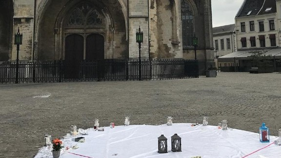 Residents in Tongeren, Belgium, placed flowers and candles in honor of the Barcelona victims.