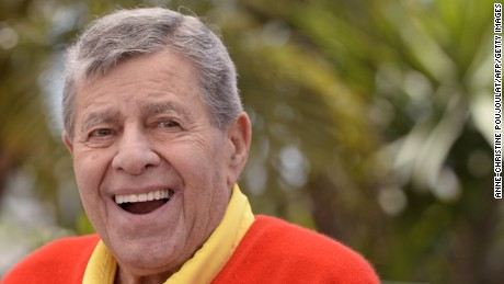 "US comedian Jerry Lewis poses on May 23, 2013 during a photocall for the film ""Max Rose"" presented Out of Competition at the 66th edition of the Cannes Film Festival in Cannes. Cannes, one of the world's top film festivals, opened on May 15 and will climax on May 26 with awards selected by a jury headed this year by Hollywood legend Steven Spielberg.       AFP PHOTO / ANNE-CHRISTINE POUJOULAT        (Photo credit should read ANNE-CHRISTINE POUJOULAT/AFP/Getty Images)"
