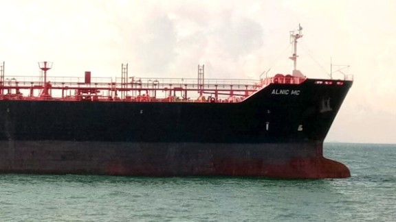 Oil and chemical tanker Alnic MC is seen after Monday