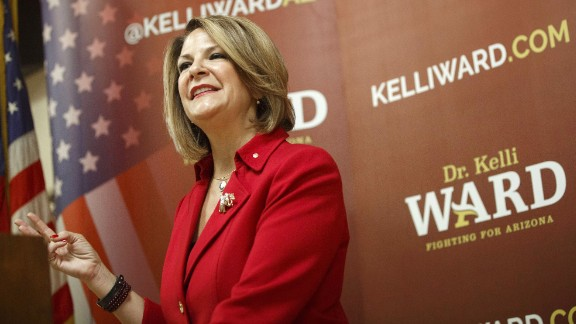 Kelli Ward, a former Senator from Arizona, speaks during a campaign stop at the Veterans of Foreign Wars Post 720 in Phoenix, Arizona, U.S., on Thursday, August 11, 2016. Ward hopes to unseat incumbent U.S. Senator John McCain from his re-election bid in the August 30 Republican primary. Photographer: Patrick T. Fallon/Bloomberg via Getty Images