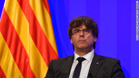 President of Catalonia Carles Puigdemont looks on during a press conference at the Generalitat (Catalan Government) in Barcelona on August 20, 2017. Police said they had cast a dragnet for 22-year-old Younes Abouyaaqoub, who media reports say was the driver of a van that smashed into people on Barcelona's busy Las Ramblas boulevard on August 17, killing 13. An extensive operation including roadblocks was deployed across Catalonia, police said, urging people not to disclose information about the checkpoints. / AFP PHOTO / LLUIS GENE        (Photo credit should read LLUIS GENE/AFP/Getty Images)