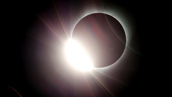 The moon almost totally eclipses the sun during a near total solar eclipse as seen from Salem, Ore., Monday, Aug. 21, 2017.