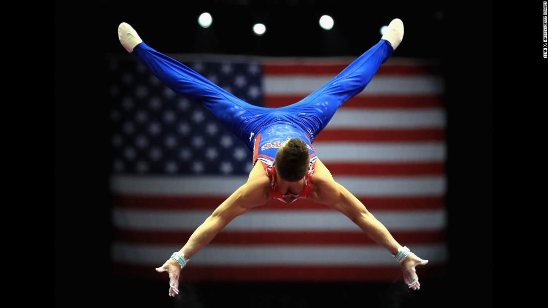 Sam Mikulak competes on the high bar Thursday, August 17, during the P&G Gymnastics Championships in Anaheim, California. He finished the event in third place.