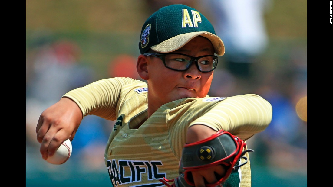 Ho Sung Lee winds up for a pitch during a Little League World Series game in Williamsport, Pennsylvania, on Sunday, August 20.