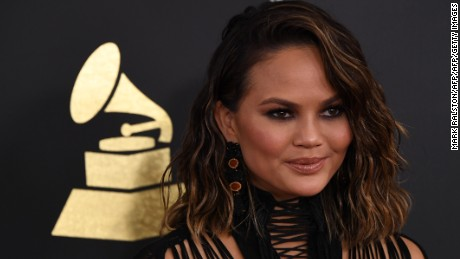 Chrissy Teigen arrives for the 59th Grammy Awards on February 12, 2017, in Los Angeles, California.