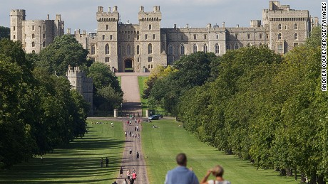 Windsor Castle, with the Long Walk in the foreground.