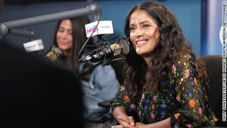 LOS ANGELES, CA - AUGUST 17:  Actress Salma Hayek (R) and SiriusXM host Symon (L) speak on air as Salma Hayek visits the SiriusXM Studios on August 17, 2017 in Los Angeles, California.  (Photo by Matt Winkelmeyer/Getty Images)