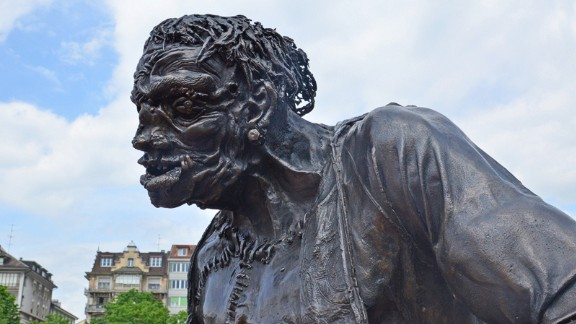 Creepy statue: Frankenstein is an increasingly popular tourist attraction in the Swiss city of Geneva, where a statue of Mary Shelley's monster stands tall at Plainpalais -- the site where the character committed his first murder.