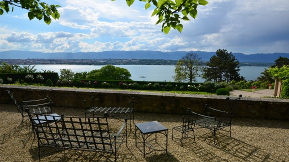 View from the villa: Situated on top of a hill, the villa overlooks lakes and the Jura mountains.