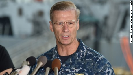 Vice Adm. Joseph Aucoin, Commander of the US 7th Fleet, delivers a speech in front of the USS Fitzgerald at US Navy Yokosuka Base, southwest of Tokyo on June 18, 2017.