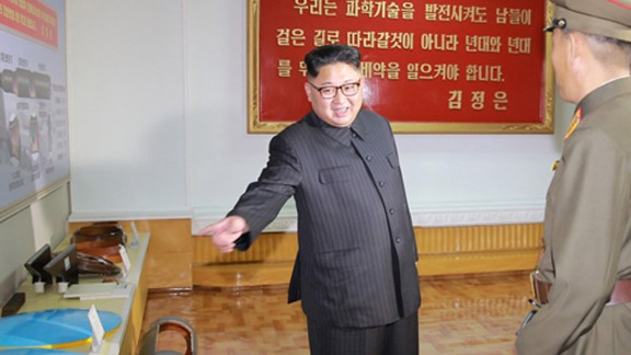 """Undated images released by North Korea state media KCNA purport to show leader Kim Jong Un conducting  """"field guidance"""" at the Chemical Material Institute of the Academy of Defense Science. According to KCNA: """"After looking round the newly-built room for the education in the revolutionary history and exhibition hall of scientific and technological achievements, he learned about the processes for manufacturing ICBM warhead tip and solid-fuel rocket engine."""" The KCNA report added that Kim was accompanied on the tour by Jo Yong Won and Kim Jong Sik, vice department directors of the C.C., the Workers' Party of Korea.""""  --- dateline on report says Pyongyang"""