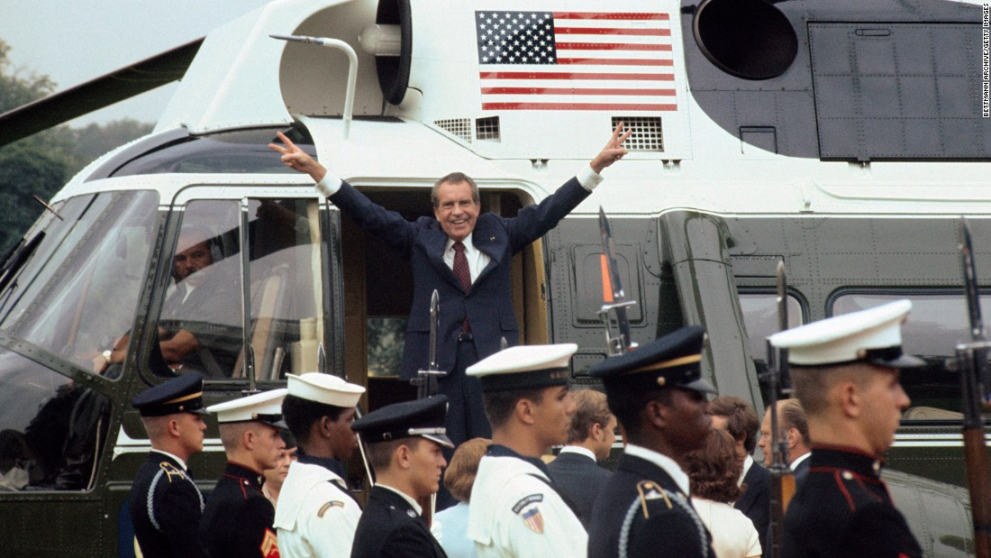 "President Richard Nixon avoided being indicted in the Watergate scandal after his former vice president and successor, President Gerald Ford, pardoned him for crimes he ""committed or may have committed."" His pardon came about a month after he resigned from office in wake of the scandal."