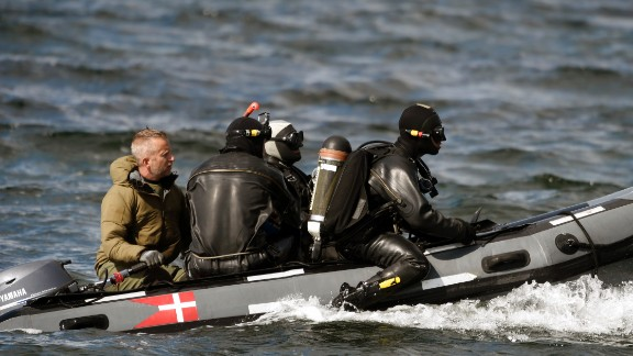 Danish Defense Command divers prepare for a dive near Copenhagen after the discovery of what turned out to be Wall's torso last August.