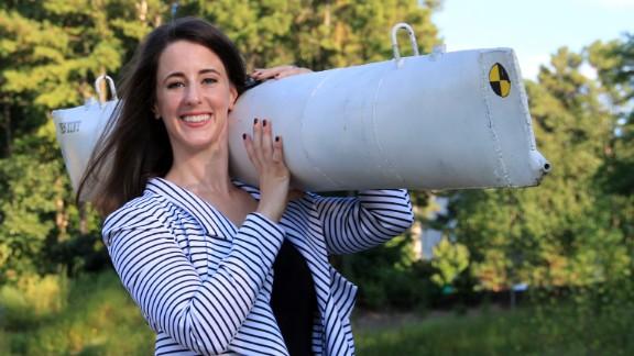 Rachel Lance set off explosions near a miniature replica of a Civil War submarine.