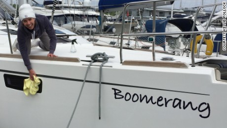 ÒBoomerangÓ gets a good polish before her maiden voyage.