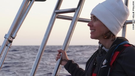 Kellie takes the helm on her three hour watch during the crossing from the UK to Gibraltar. This was taken off the Portuguese coast.