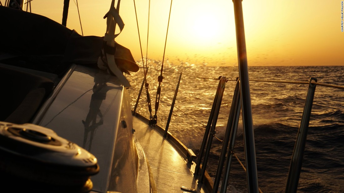 The morning after Kellie and Jonathan ran over another rope during their first night sail. The calmness of the sea belied the anxiety on board.