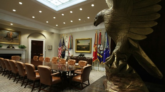 WASHINGTON, DC - AUGUST 22:  The Roosevelt Room of the White House is seen after renovations August 22, 2017 in Washington, DC. The White House has undergone a major renovation with an upgrade of the HVAC system at the West Wing, the South Portico steps, the Navy mess kitchen, and the lower lobby.  (Photo by Alex Wong/Getty Images)