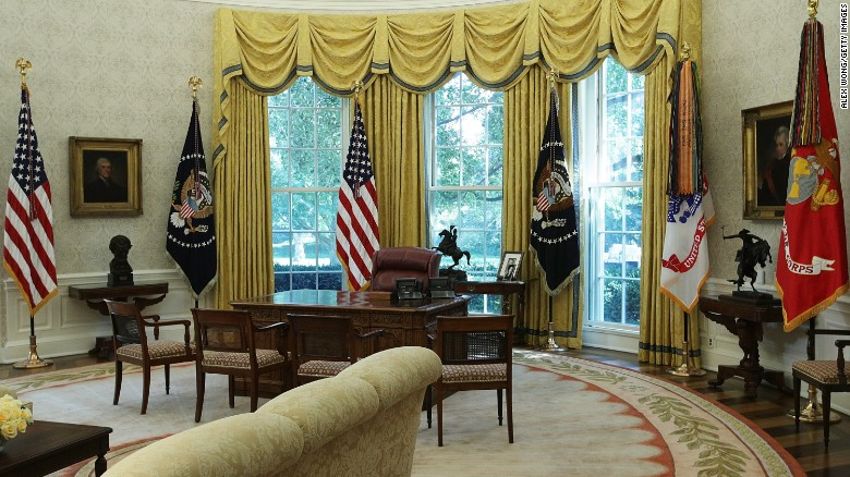 The Oval Office Of White House Is Seen After Renovations Including New Wallpaper August 22
