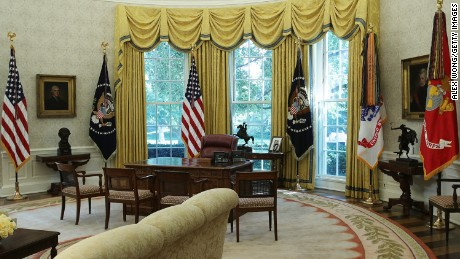 The Oval Office Of The White House Is Seen After Renovations Including New  Wallpaper August 22