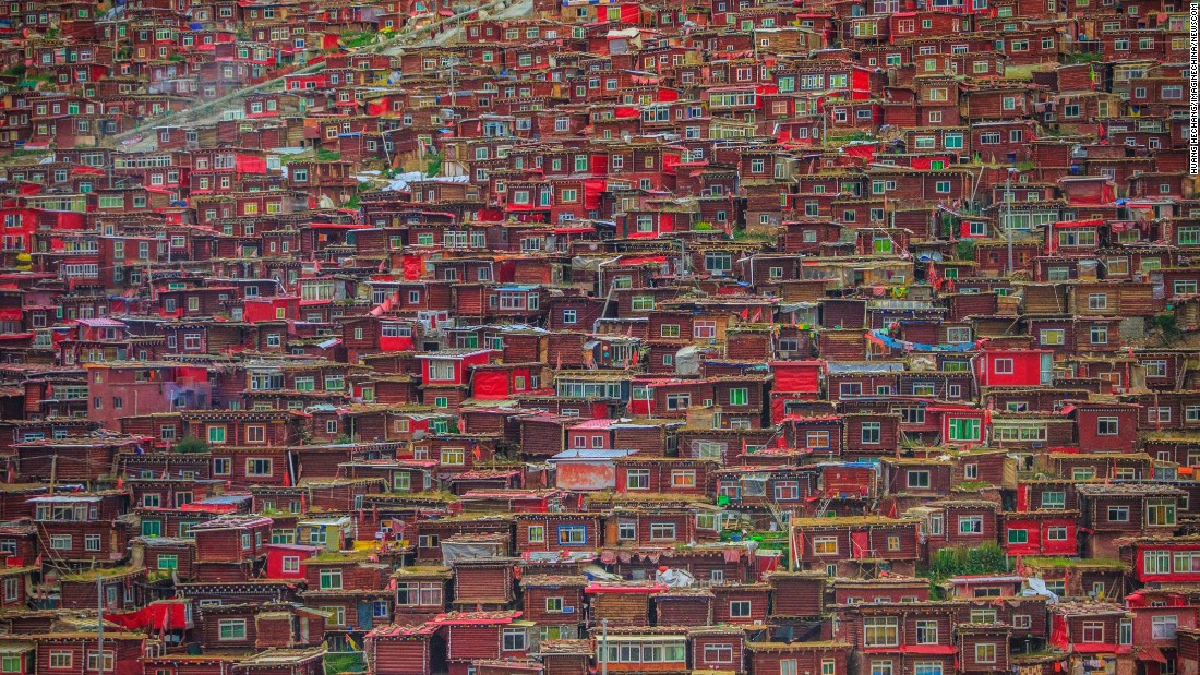 <strong>Sichuan, China: </strong>An aerial view of<strong> </strong>homes at the Larung Gar Buddhist Academy, which is the largest Buddhist institute in the world. Established in 1980, Larung Gar now has around 40,000 residents, consisting of mainly apprentice monk and nuns.