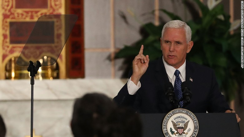 DORAL, FL - AUGUST 23:  Vice President Mike Pence speaks about the ongoing crisis in Venezuela at Our Lady of Guadalupe Catholic Church on August 23, 2017 in Doral, Florida.  Vice President Pence also met with members of the Venezuelan exile community to discuss the political crisis in the South American country.  (Photo by Joe Raedle/Getty Images)