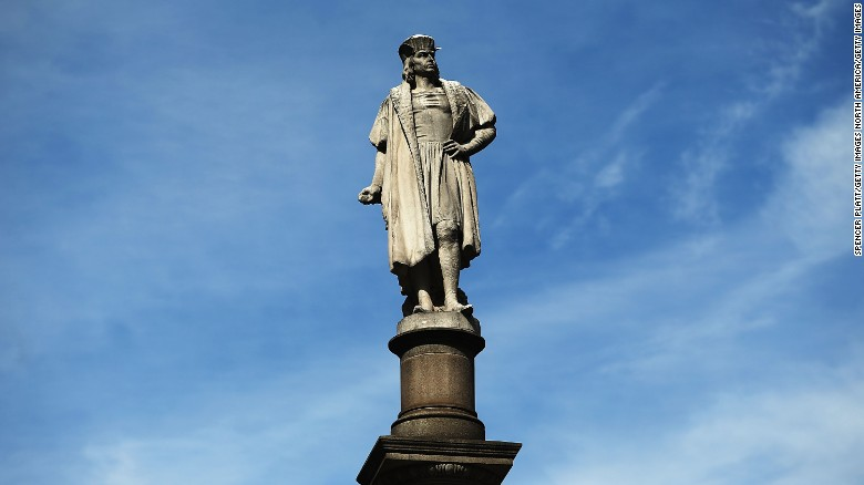 A 76-foot statue of Christopher Columbus stands in New York City's Columbus Circle.