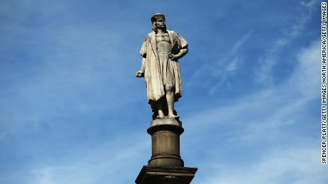 A 76-foot statue of explorer Christopher Columbus in New York City.