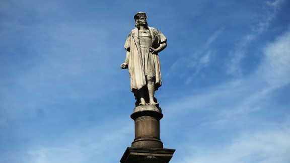 A 76-foot statue of Christopher Columbus stands in New York's Columbus Circle.