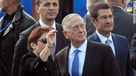 US Defense Secretary James Mattis, center, attends a military parade to celebrate independence day in Kiev, Ukraine, Thursday, Aug. 24, 2017. The Ukraine officially declared itself independent from the Soviet Union on April 24, 1991. (AP Photo/Efrem Lukatsky)