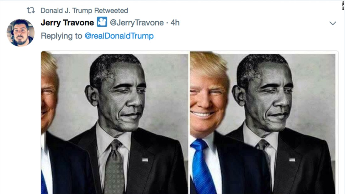 170824124059 trump obama eclipse rt super tease trump retweets meme of his obama 'eclipse' cnnpolitics