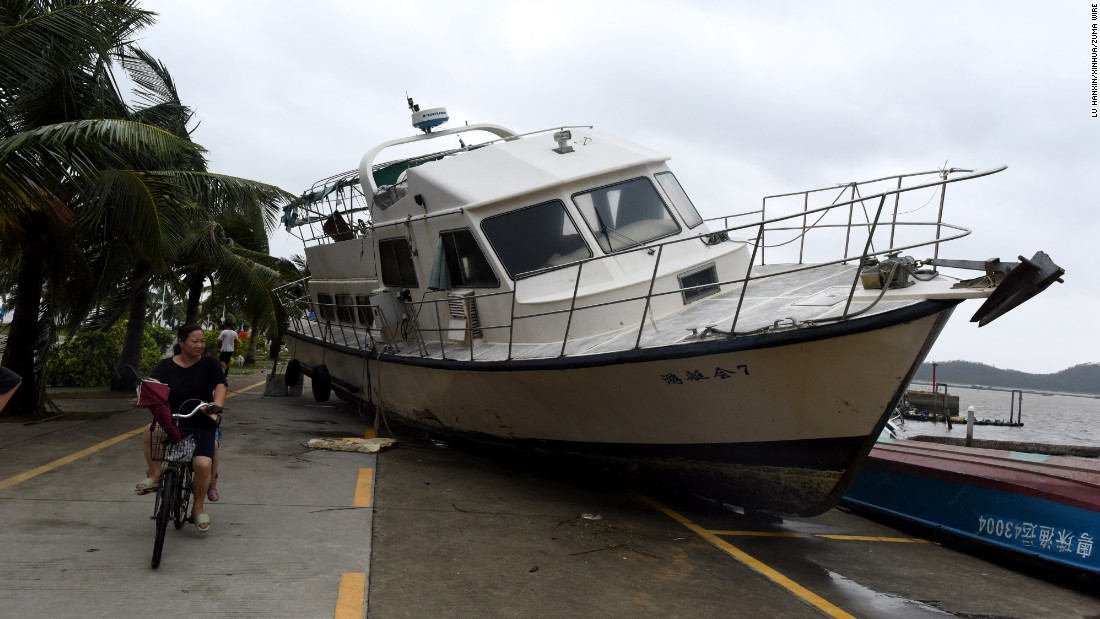 "This yacht in Zhuhai, China, was washed ashore by Typhoon Hato on Wednesday, August 23. The storm <a href=""http://www.cnn.com/2017/08/23/asia/typhoon-hato-hong-kong-macau/index.html"" target=""_blank"">brought massive winds and flooding</a> to the cities of Macau and Hong Kong."
