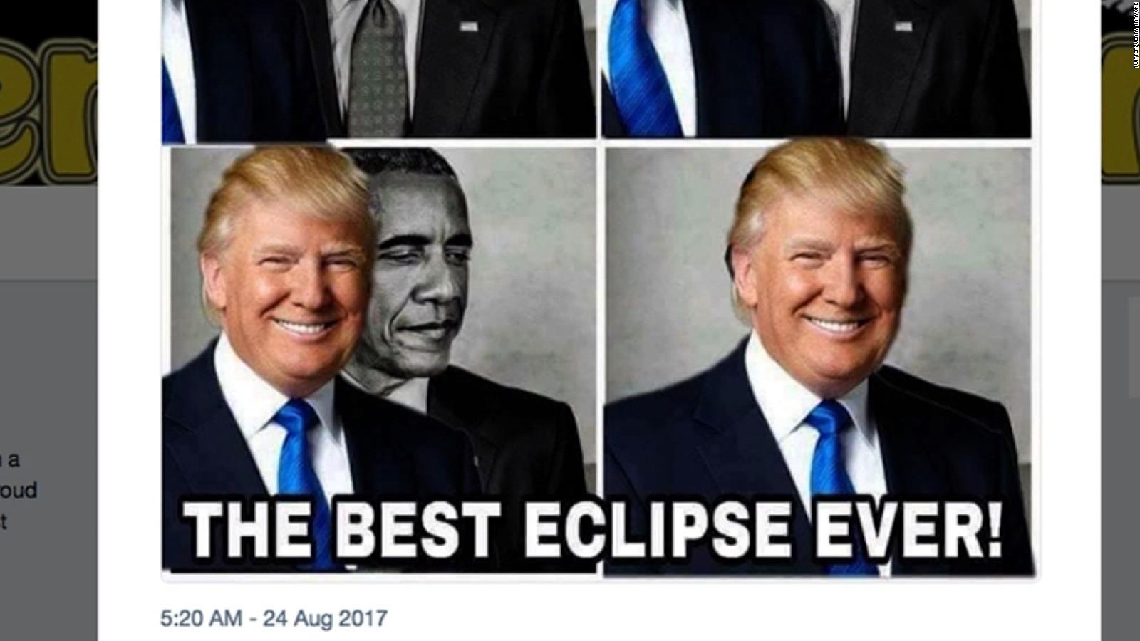 170824193502 trump obama eclipse moos pkg 2 full 169 trump retweets meme of his obama 'eclipse' cnnpolitics
