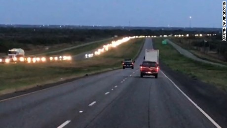 Traffic on Interstate 37 between San Antonio and Corpus Christi was backed up for miles Thursday.
