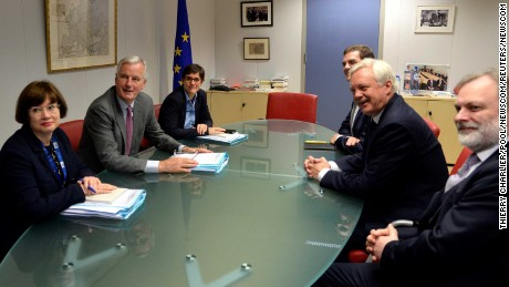 EU chief Brexit negotiator Michel Barnier and UK Brexit Secretary David Davis at the first round of talks.