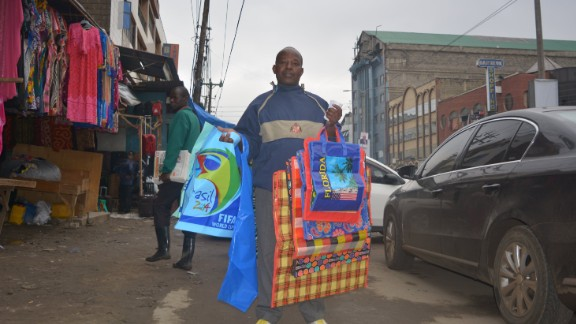 Jonathan Mwagangi, 56, has been selling plastic bags for the past 15 years. Photo/Yunis Dekow