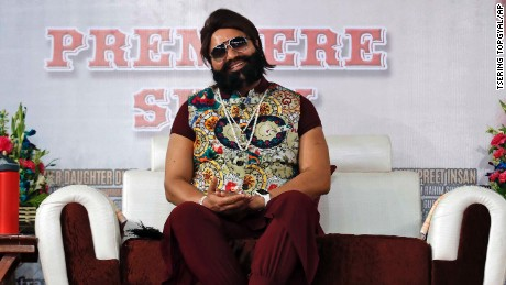 Gurmeet Ram Rahim Singh Ji Insan attends the premiere of the movie 'Jattu Engineer' in New Delhi, India in 2017.