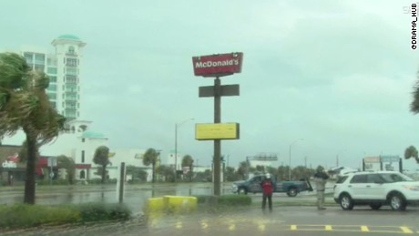 The golden arches atop a McDonald's in Galveston  were downed by high winds.