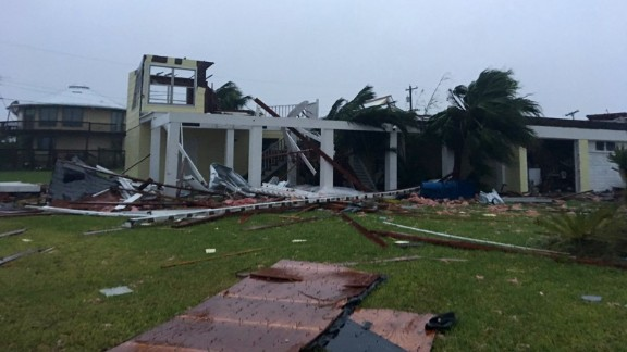 A scene of damage caused by Hurricane Harvey in Rockport, Texas, on August 26.